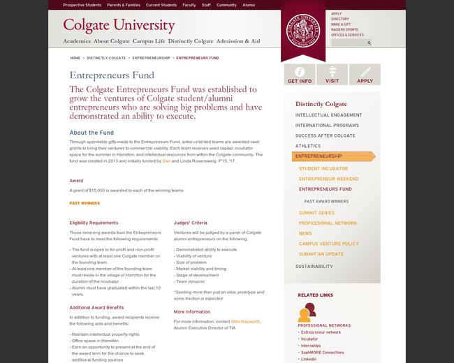 Colgate's Entrepreneurs of New York Fund