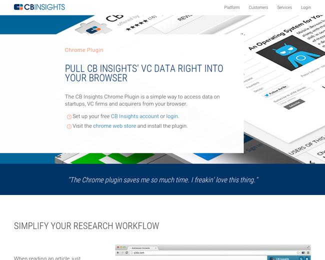 Cbinsights chrome plugin