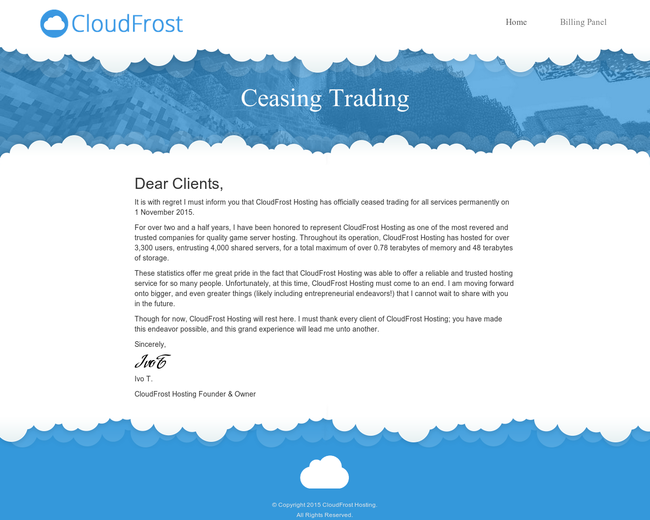 CloudFrost Hosting