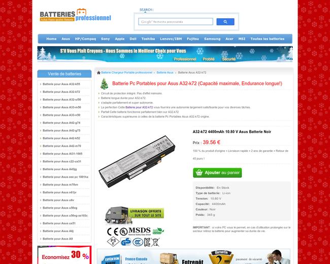Batterie pour Asus A32-k72