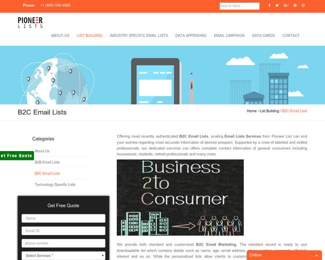 B2C Email Lists | B2C Mailing Lists | Pioneer Lists