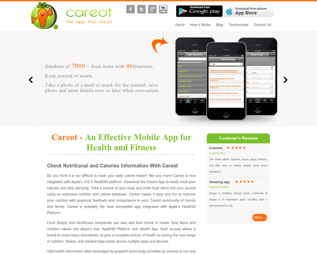 Careot - Online Calorie Counter