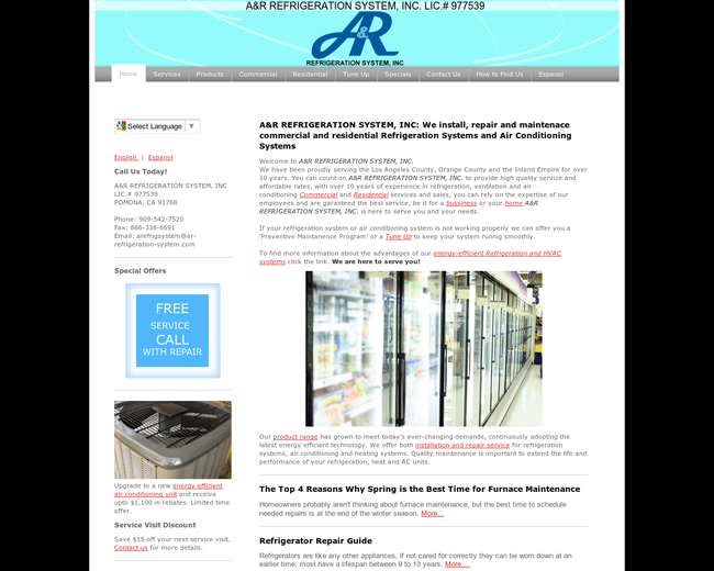 A&R REFRIGERATION SYSTEM