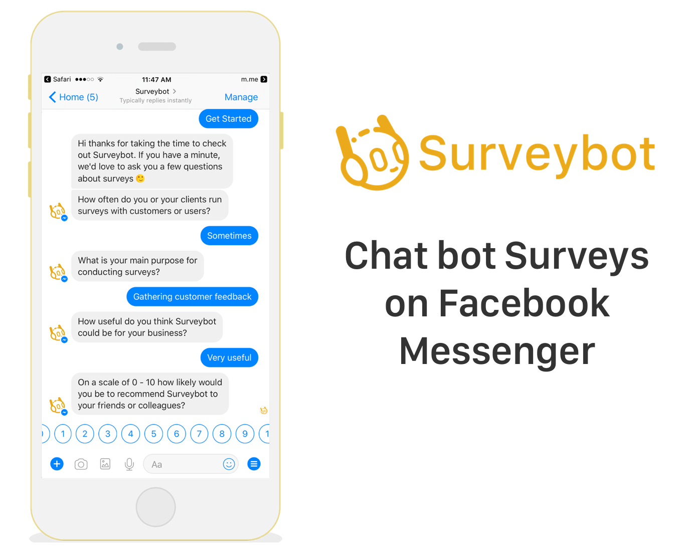 Chat bot surveys on Facebook Messenger